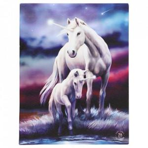 Tablou canvas unicorni, Dragoste eterna 19x25cm - Anne Stokes