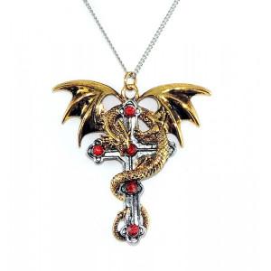 Pandantiv dragon pe cruce gotică Crux Dragana