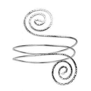 Bratara fixa bangle bronz placat cu argint Spirale