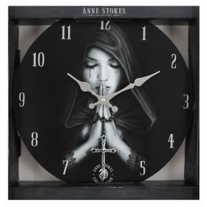 Ceas de perete din lemn Gothic Prayer - Anne Stokes