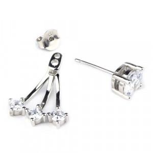 Cercei argint cu zirconii Barca de cristal