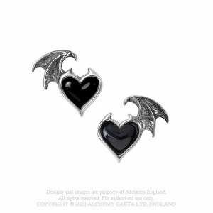 Cercei inima cu aripi de liliac Suflet Negru