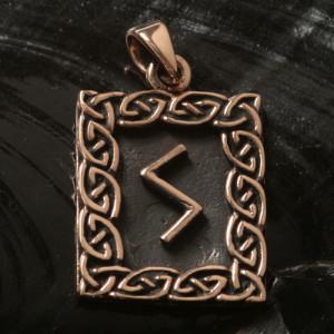 Pandantiv bronz runa Sowilo