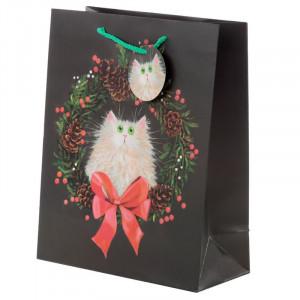 Punga cadou de Craciun Pisicuta festiva - mare