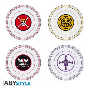 Set de 4 farfurii portelan - ONE PIECE - Emblemele piratilor