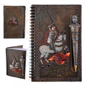 Set Jurnal /agenda cu pix in forma de cavaler medieval si coperti din rasina