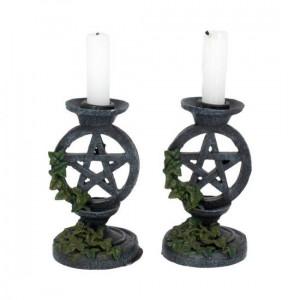 Set suporturi lumânări Pentagrame cu iederă