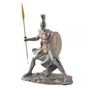 Statueta mitologica Leonidas cu scut si lance 11cm