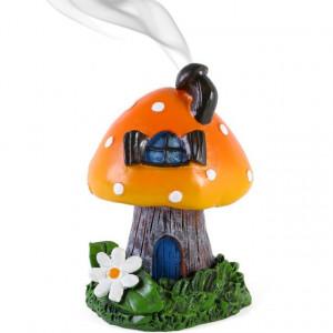 Suport conuri tamaie Casa din Ciuperca - portocaliu 12cm