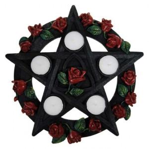 Suport lumânări Pentagramă cu trandafiri