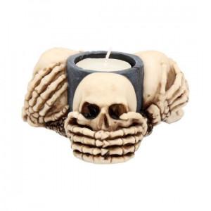 Suport lumânări Trei cranii înțelepte