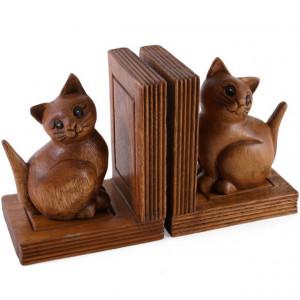 Suporturi de carti (bookends) sculptate in lemn Pisicute