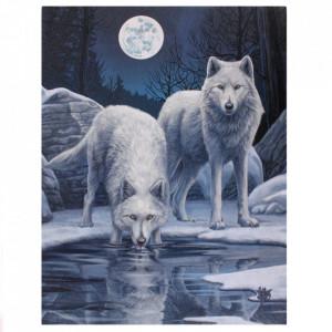 Tablou canvas lupi Razboinicii Iernii 19x25cm - Lisa Parker