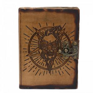 Agenda / Jurnal cu coperti din piele si incuietoare Pentagrama cu craniu (18x13 cm)