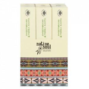 Betisoare de tamaie parfumate Native Soul -Yerba Santa si Iarba zimbrului (Sweet grass)23cm
