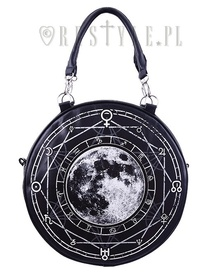 Black, witchy purse, full moon print, moon bag
