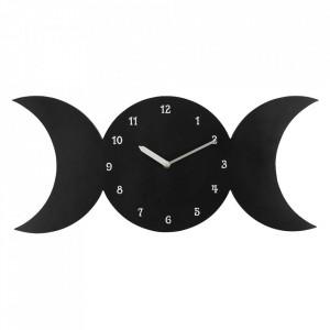 Ceas de perete negru Luna Tripla