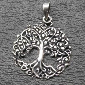 Pandantiv argint Copacul vietii cu frunze