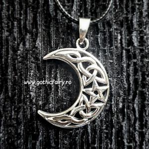 Pandantiv argint Luna cu pentagrama