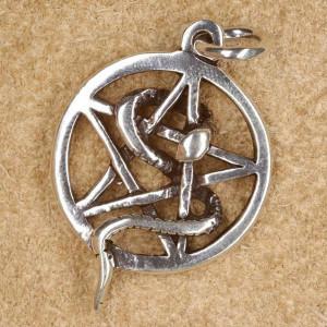 Pandantiv argint Sarpe incolacit pe pentagrama
