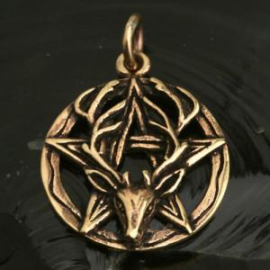 Pandantiv bronz Cerb cu pentagramă