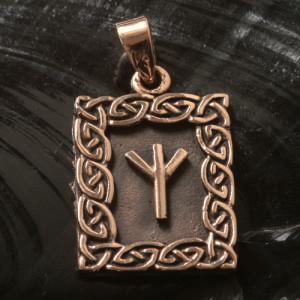 Pandantiv bronz runa Algiz
