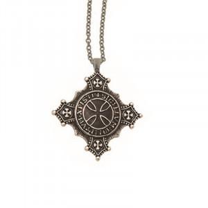Pandantiv cu lant placat argint Crucea Templierilor