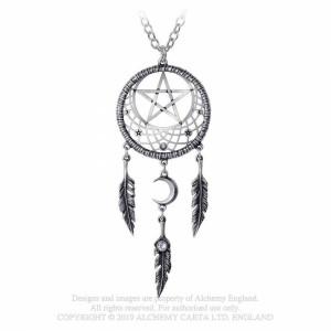 Pandantiv dreamcatcher cu semiluna si pentagrama Pagan