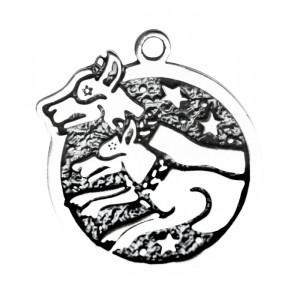 Pandantiv placat argint zodiac celtic Cwn Annan 14 Feb - 8 Mar