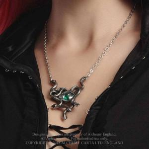 Pandantiv serpi, cristal verde, Ochiul Gorgonei