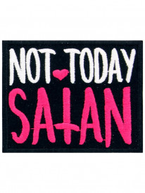 Petic textil decorativ / Patch brodat Not Today Satan