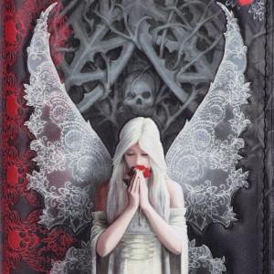 Portofel gotic embosat Doar dragostea ramane 19 cm