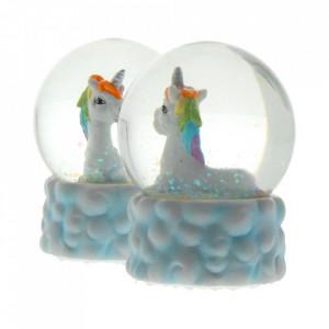 Set 2 globuri de zapada unicorni Prietenii Curcubeului 9 cm