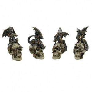 Set 4 statuete cranii cu dragoni steampunk 10.5 cm