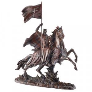 Statueta finisaj bronz Cavaler Templier calare