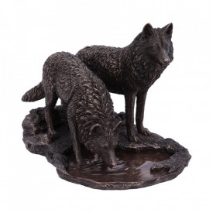 Statueta lupi finisaj bronz Razboinicii iernii - Lisa Parker 35 cm