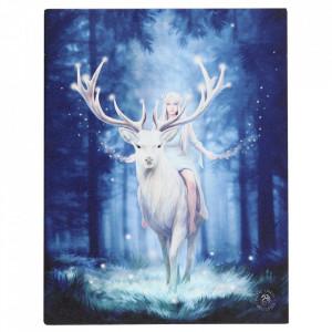 Tablou canvas zana si cerb, Padurea Fermecata 19x25cm - Anne Stokes