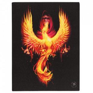 Tablou canvas zana si pasare, Inaltarea Phoenixului 19x25cm - Anne Stokes