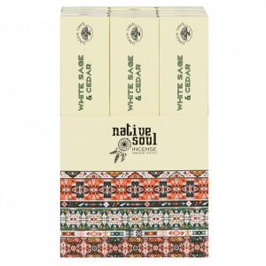 Betisoare de tamaie parfumate Native Soul - Salvie Alba si Cedru 23cm