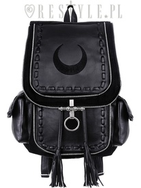 Black School bag, with pockets 90s backpack moon bag CRESCENT BLACK BACKPACK