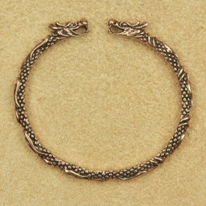 Brățară fixa vikingă Capete de dragoni - bronz