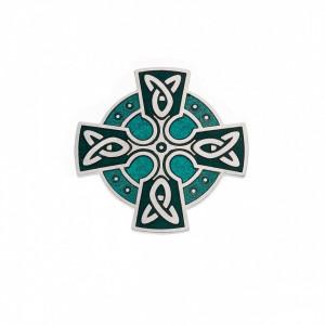 Brosa placata argint si sticla emailata Celtic Lands - Cruce Celtica cu Triquetra 35 mm