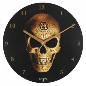 Ceas de perete din lemn Omega Skull