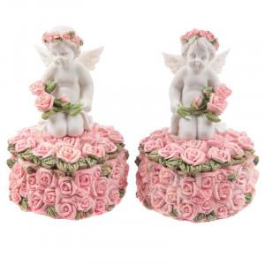 Cutiuta cu Ingeras cu Trandafiri 9 cm