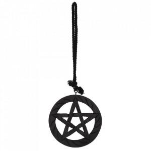 Decoratiune cu agatatoare din lemn Pentagrama - negru