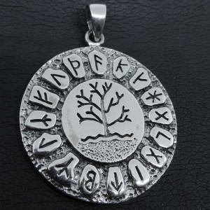 Pandantiv argint Copacul vietii cu rune