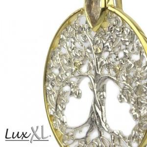 Pandantiv argint cu topaz alb placat cu aur Copacul vietii