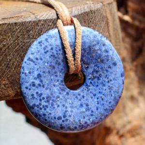 Pandantiv disc piatra semipretioasa Dumortierit 40mm