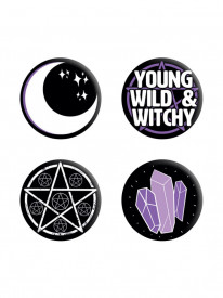 Set 4 insigne Young, Wild & Witchy