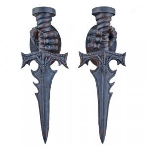 Set doua suporturi lumanari pentru perete Pumnalul Vampirului 26cm